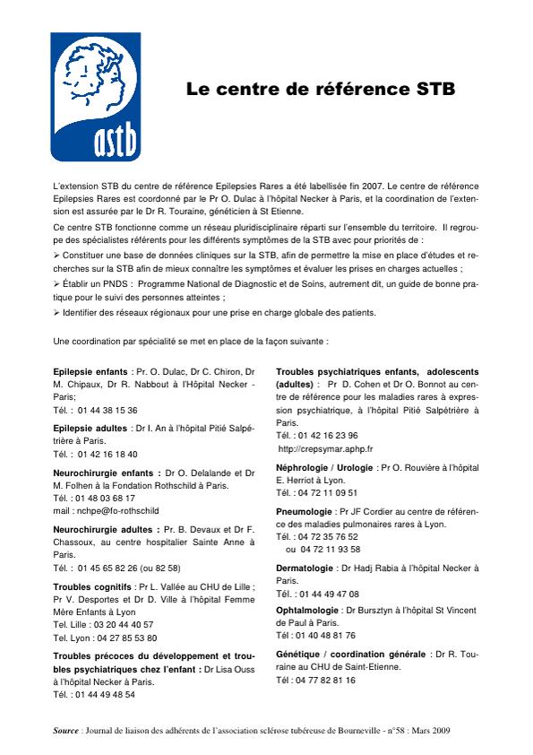 CENTRE DE REFERENCE STB - medecins referents nationaux - Mars 2009