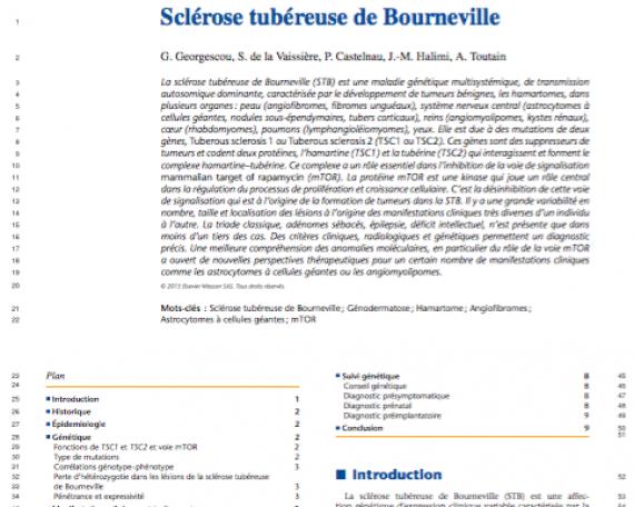«Sclérose tubéreuse de Bourneville», G. Georgescou et al., 2015